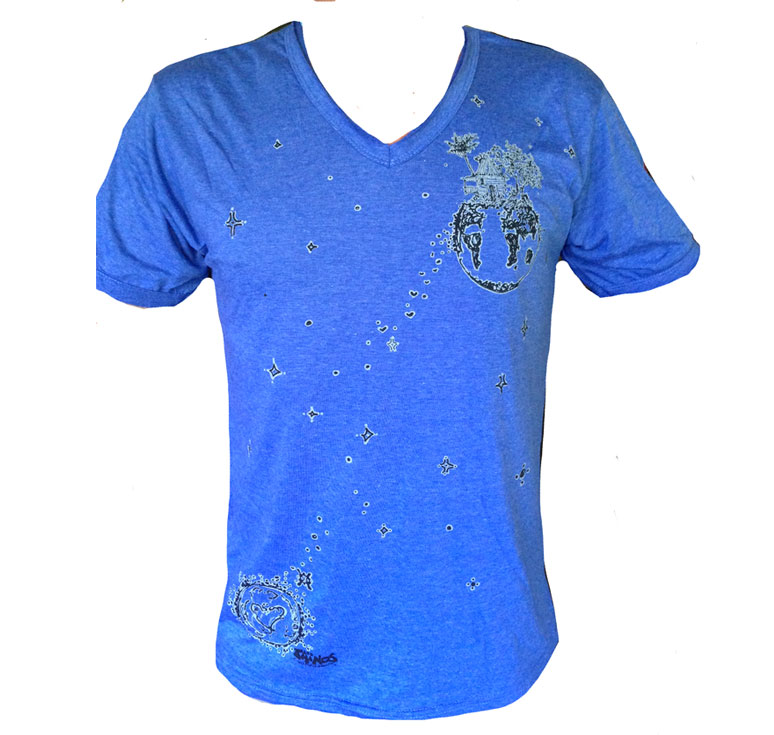 TShirt COL V BLEU FLOATING PLANET